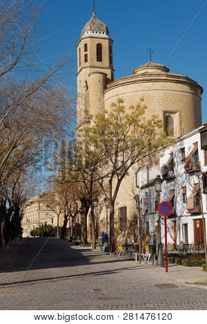 UBEDA, SPAIN - JANUARY 7, 2013: Street leading to Sacra Capilla del Salvador, the Chapel of the Savior. Built in 16th century, the temple is specially mentioned in UNESCO World Heritage description