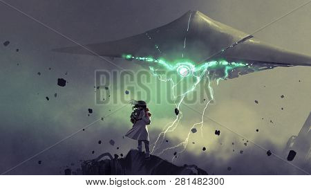 Sci-fi Scene Of Young Mother Carrying Her Baby Looking At The Spaceship In The Sky, Digital Art Styl