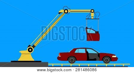Insdustrial Robot Arm Biulding A Car. Vector Illustration Design