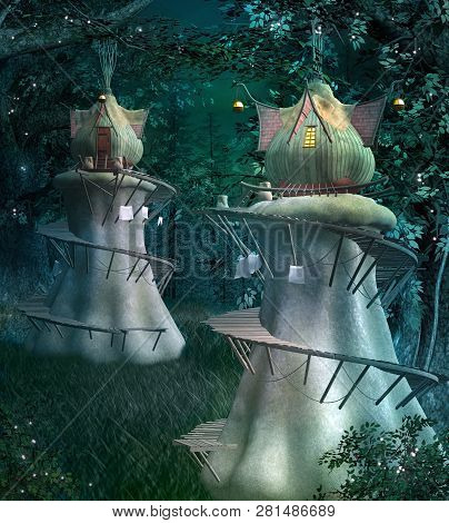 Elves Fantasy Town In The Dark And Fabulous Forest - 3d Illustration