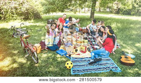 Happy Friends Group Having Fun Outdoor Cheering At Bbq Picnic With Snacks Food Drinking Red Wine - Y