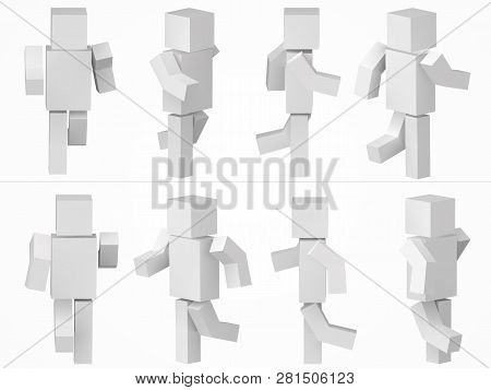 Running Cubic Character. 3d Style Simple Cubic Character Illustration.