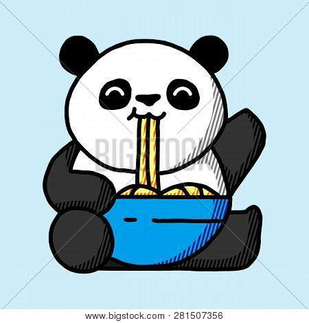 Panda On A White Background. Panda With A Cane. Panda Logo. Panda Icon. Panda Art. Panda Poster. Pan