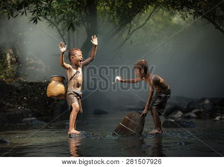Asia Child Life Laugh Fisherman On River Stream / The Boy Friend Happy Funny Laughing And Smile Boy