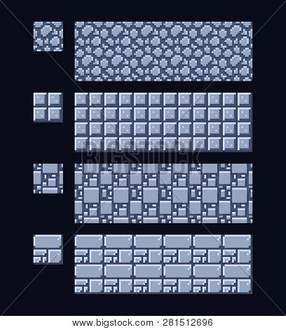 Vector Illustration - Set Of 8 Bit 16x16 Stone And Metal Texture. Pixel Art Style Game Background Se