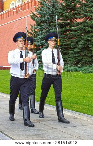 Moscow - August 18: Change Of The Guard Of Honor At The Tomb Of The Unknown Soldier At The Kremlin W