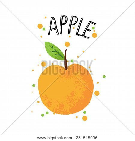 Vector Hand Draw Apple Illustration. Orange Apple With Juice Splash Isolated On White Background. Te