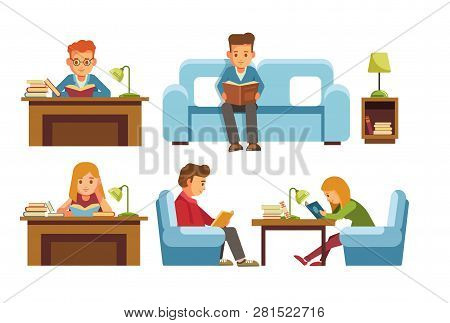 Children Students In Library Or Bookshop Reading Books