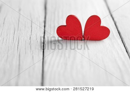 Valentine Background With Handmade Hearts On Rustic Wood