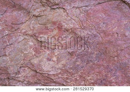 Stone Texture Background With Unique Pattern. Pink Rock Texture. Rock Surface Abstract Background. N
