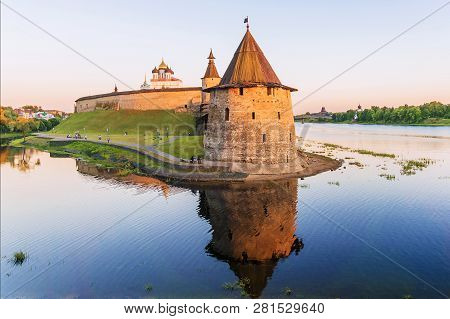 Pskov Kremlin at sunset, Russia.Pskov - one of the oldest cities in Russia poster