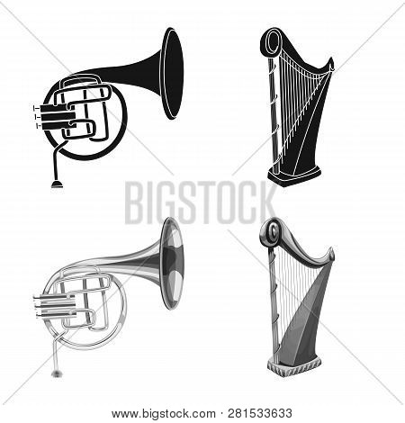 Vector Design Of Music And Tune Symbol. Set Of Music And Tool Stock Vector Illustration.