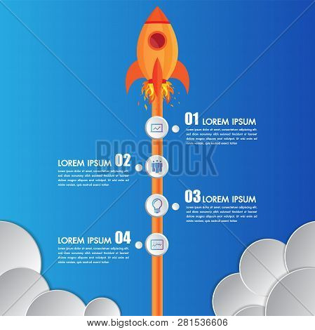 Infographics Design Template Rocket Or Spaceship Launches Through The Clouds With Icons Flying Up 4