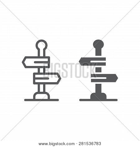 Signpost Line And Glyph Icon, Way And Direction, Guidepost Sign, Vector Graphics, A Linear Pattern O