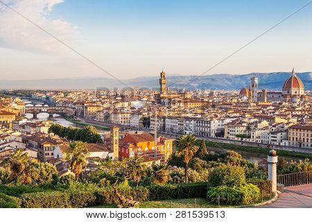 Florence Italy. Skyline Cityscape Of Firenze With Florence Duomo, Basilica Di Santa Maria Del Fiore