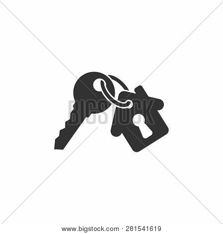 Keychain With Key Ring And A Pendant House Locket. Key Chain With House With Keyhole Locket Vector I