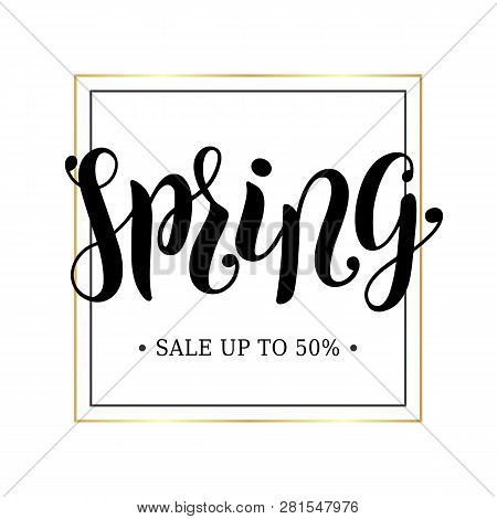Spring Sale Advertising Banner Concept. Minimalistic Luxury Style. Golden Frame. Spring Hand Scetche