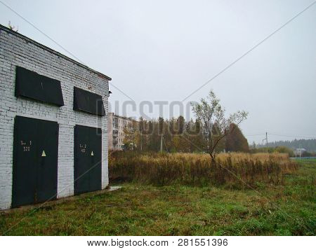 Rural Countryside Gloomy Backyard Landscape In Autumn
