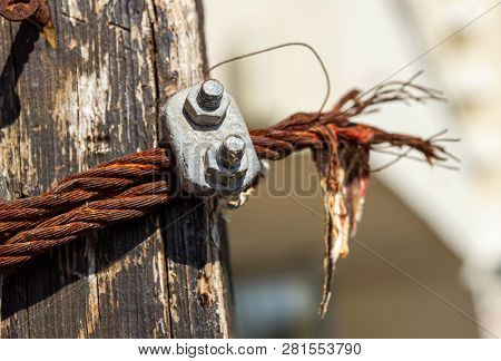 Close Picture Of A Wire Rope With A Wire Rope Clamp Of An Old Bulgarian Suspension Footbridge