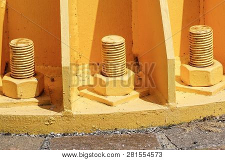 Nuts And Bolts Are Fastener Between Concrete And High Mast Pole. Bolts Based On Cement