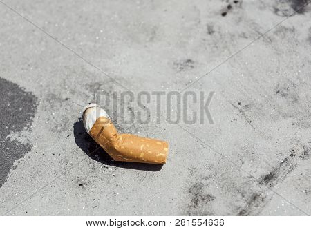 View Of The Cigarettes And Tobacco. Tobacco Contains The Alkaloid Nicotine, Which Is A Stimulant, An