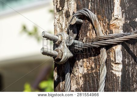 Steel Wire Rope With Clamp . Close Up