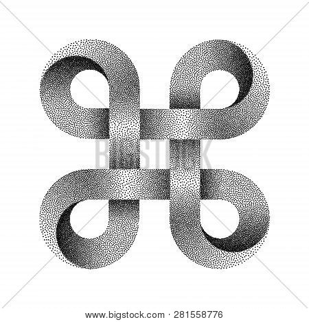 Stippled Bowen Knot Sign. Command Key Symbol Made Of Mobius Strip. Vector Textured Illustration Isol