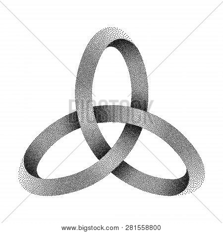 Stippled Knot Triquetra. Ancient Celtic Trinity Symbol Made Of Mobius Strip. Vector Textured Illustr