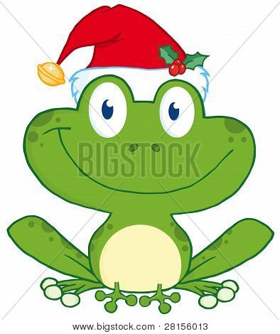Happy Frog With Santa's Hat