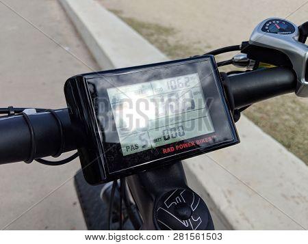 Honolulu - June 9, 2018: Rad Power Bikes Display Screen.   The Lcd Display Information Categories.
