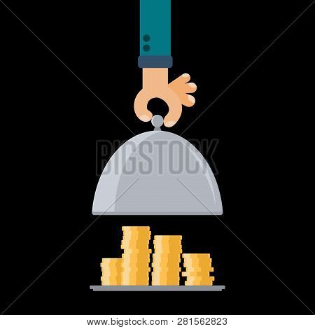 Restaurant cloche in hand. Open food serving tray plate with earnings dividends gold coins. Flat vector illustration return of investment. poster