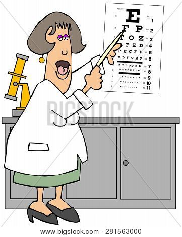 Illustration Of A Female Eye Doctor Using Her Finger To Point To An Eye Chart.