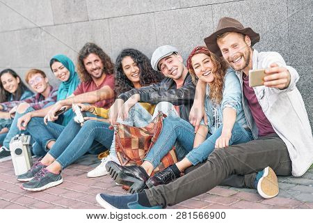 Happy Diverse Friends Taking Selfie With Mobile Smart Phone Camera - Millennial Young People Having