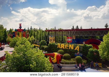 Gunzburg, Germany - May 15, 2018: The Panorama Of Legoland Deutschland At Sunny Day. View From Above