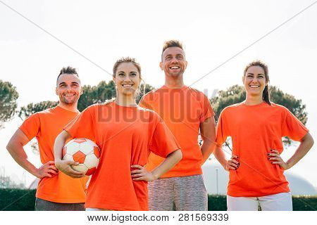 Football Team Before The Match In The Stadium - Young Happy Players Ready For Kickoff - Concept Of P
