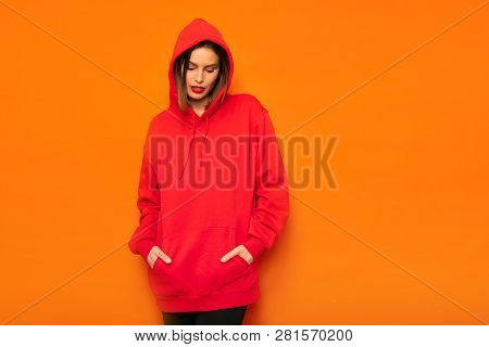 Young Girl In Red Hoodie