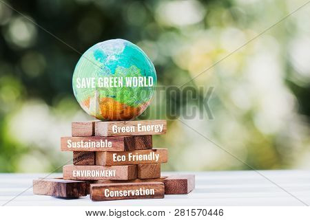 Save World Or Earth Day Concept. Model Globe Clay With Radar On Wooden Block Tower For Letter E.g Ea