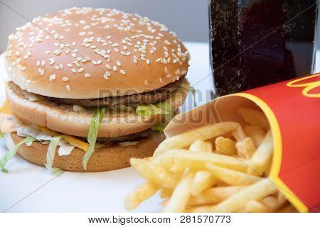 Cholesterol And Obesity. Russia, St. Petersburg, January 22, 2019: Hamburger Menu At Mcdonalds Frenc