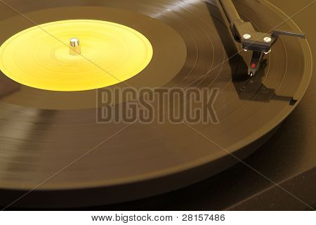 Record Player Playing an Album