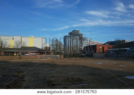 Bracknell, England - January 31, 2019: A Vacant Site Or Brownfield Land Awaiting Development In The