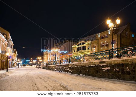 Uzhhorod, Ukraine -january 05, 2019:  Petefi Square After Reconstruction Covered With Snow In Winter