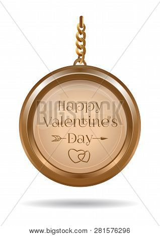 Valentines Day Design With Gold Locket On A Chain