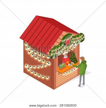 Kiosk At Street, Christmas Fair, Person Buying Items Vector. Xmas Season Salesperson Selling Spruce,