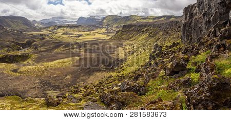 Rocky volcanic nature landscape of Landmannalaugar in Iceland on Laugavegur trek poster