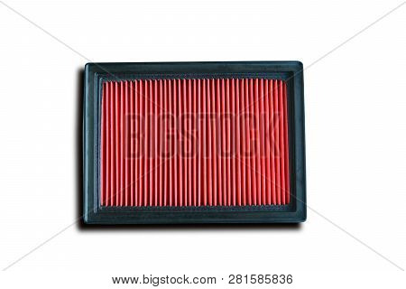 The Red  Engine Air Filter On White Background Isolated