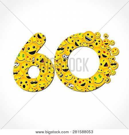 60 Th Years Old Congrats. Isolated Yellow Letter O Logotype. Abstract Web Graphic Symbol Of 60 %. Ve