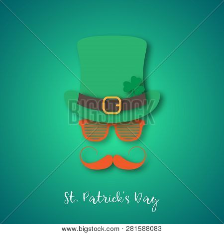 Irishman With Ginger Mustache Wearing Hat And Glasses. Happy St. Patricks Day Banner In Paper Cut St