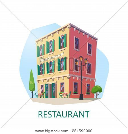 Building Of Restaurant At Isometric View. Eatery Construction Or Eating House. Saloon Structure Or B