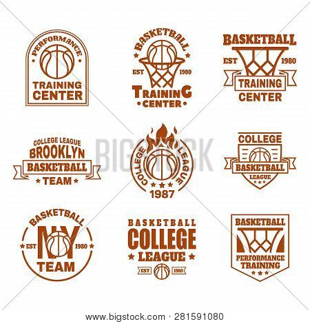Set Of Isolated Basketball Logo. Icons With Basket And Ball, Ribbon And Shield For Training Club Or