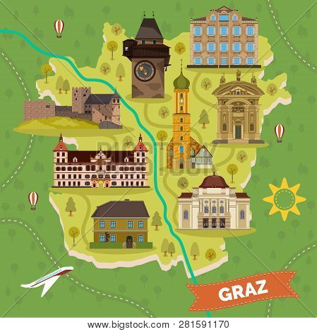 Graz town map with sightseeing landmarks. Arnold Schwarzenegger Museum and opera house, franciscan church and Eggenberg palace, Franz Ferdinand Mausoleum, Gosting castle. Travel and tourism theme poster